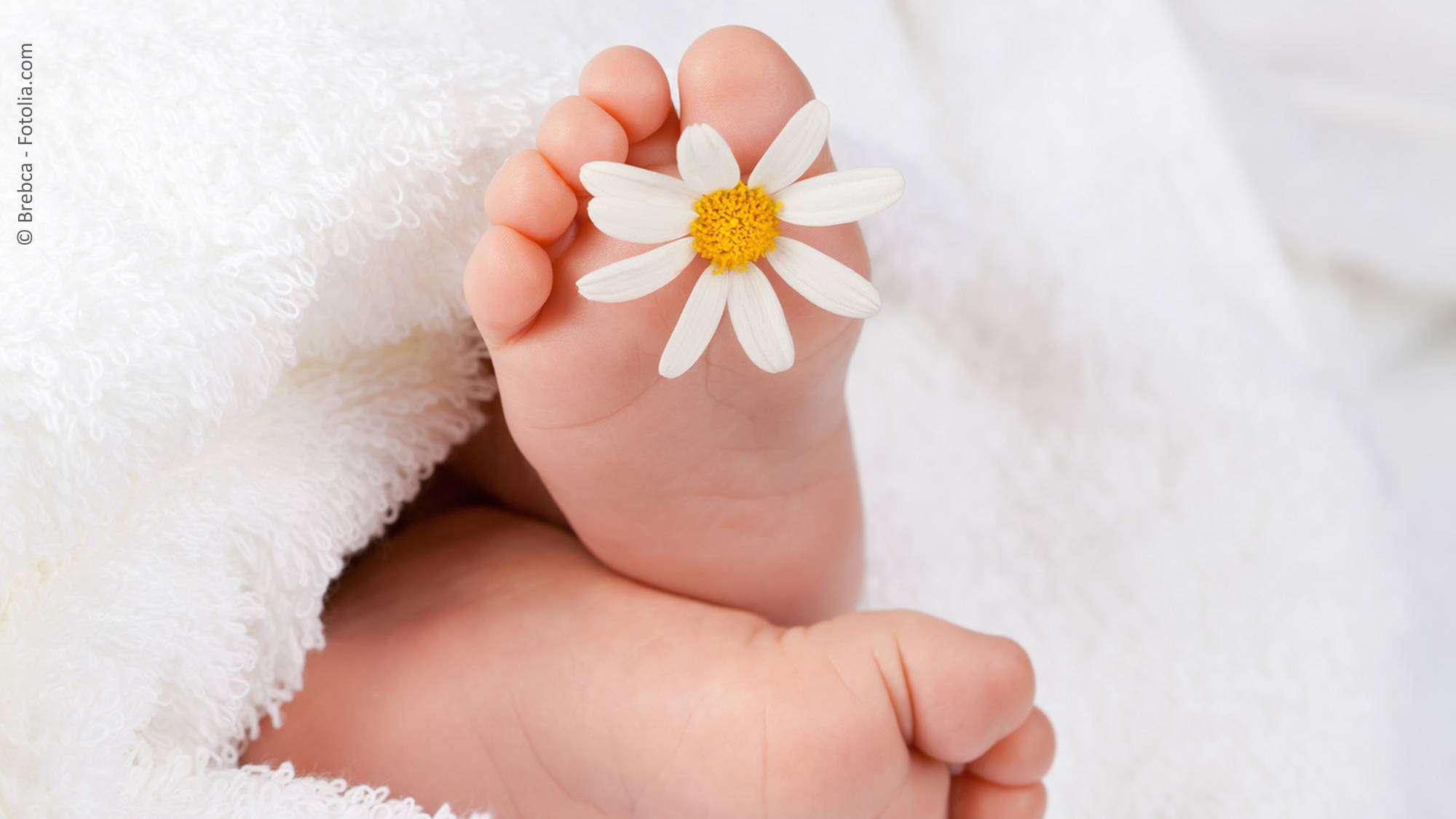 Babyfüße mit Blume bei freier Taufe